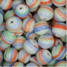 Glazed 12mm Beads, Orange, Blue & Green, Pack of 5